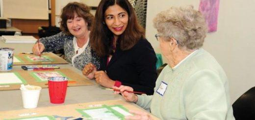 Dipika Damerla, minister responsible for Seniors Affairs, and Kathryn McGarry, MPP (Cambridge), meet with local seniors during an art workshop.